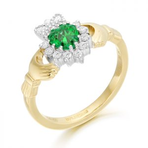 18ct Gold Diamond Claddagh Ring-CLDIA6