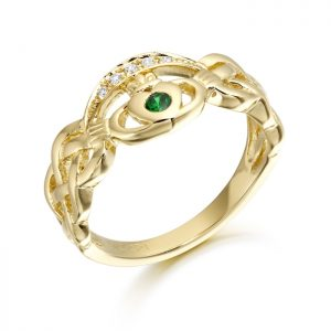 9ct Gold Claddagh Ring with Celtic Knot-CL35