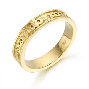 9ct Gold Claddagh Wedding Band-CL43