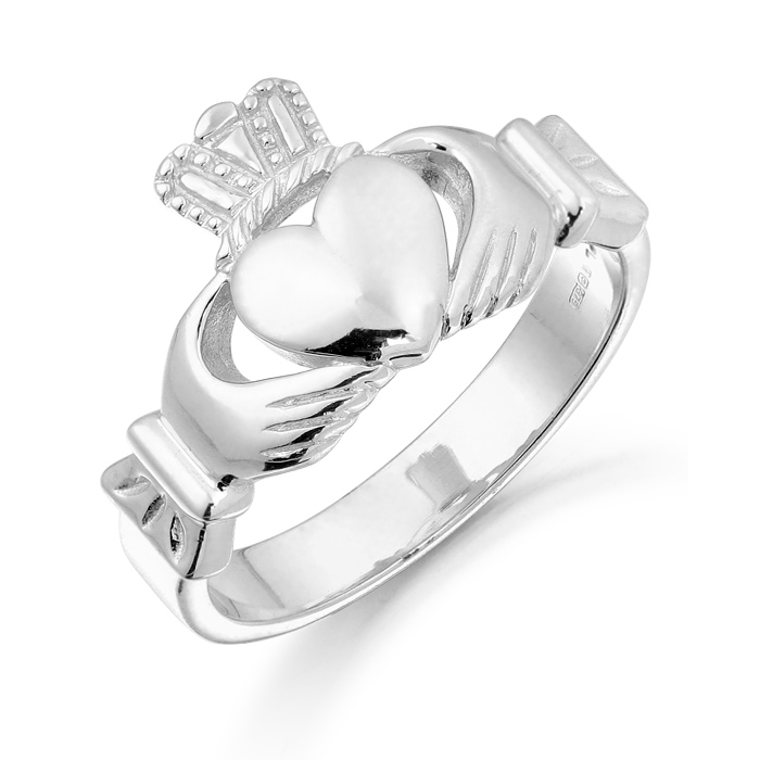White Gold Gents Claddagh Ring - 136AW