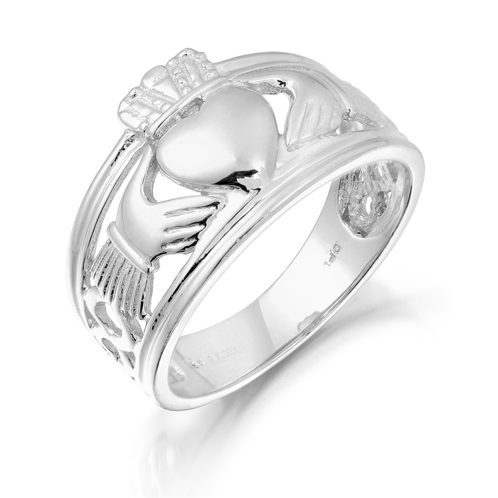 9ct White Gold Gents Claddagh Ring Combined with Celtic Knot Design - 137AW
