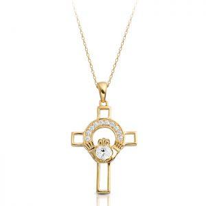 Gold Claddagh Cross-C125