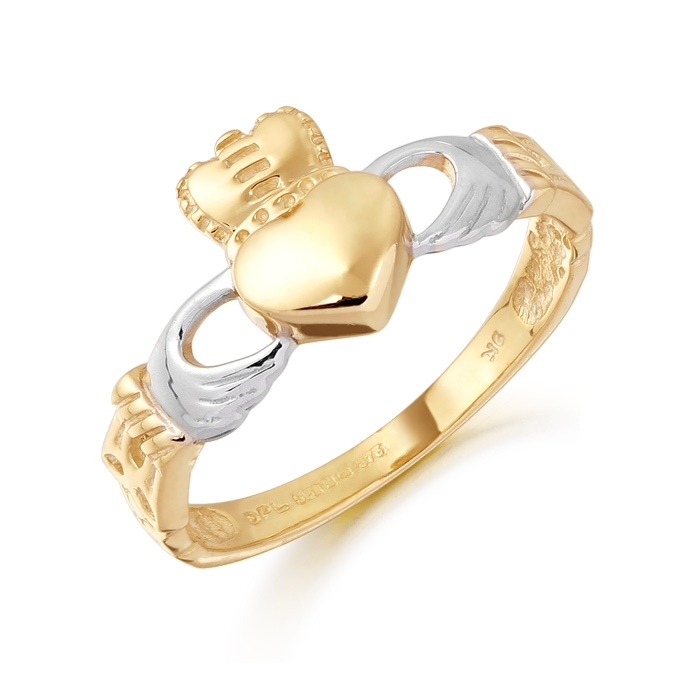 9ct Two Tone Claddagh Ring with Rhodium plated Heart and combined with Celtic Knot Design - CL12
