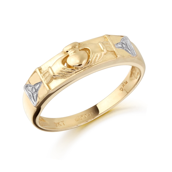 9ct Gold Claddagh Wedding Band combined with Celtic Trinity knot - CL14