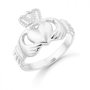 White Gold Claddagh Ring-CL7W
