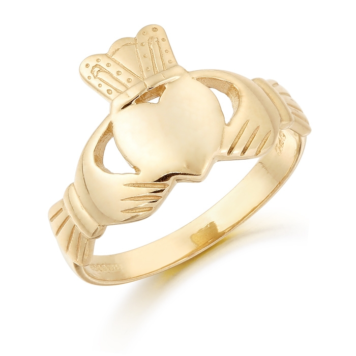 Plain 9ct Gold Claddagh Ring made in Ireland - CL20