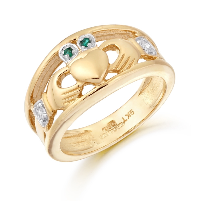 Ladies Gold Claddagh Ring studded with Cubic Zirconia - CL21G
