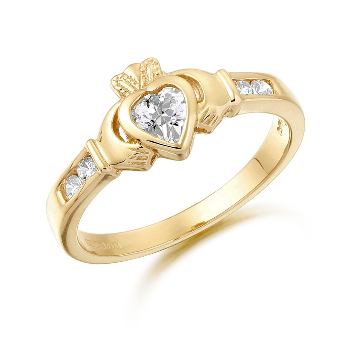 9ct Gold Claddagh Ring studded with Cubic Zirconia - CL100