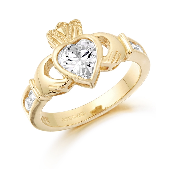 9ct Gold Claddagh Ring studded with Cubic Zirconia - CL102