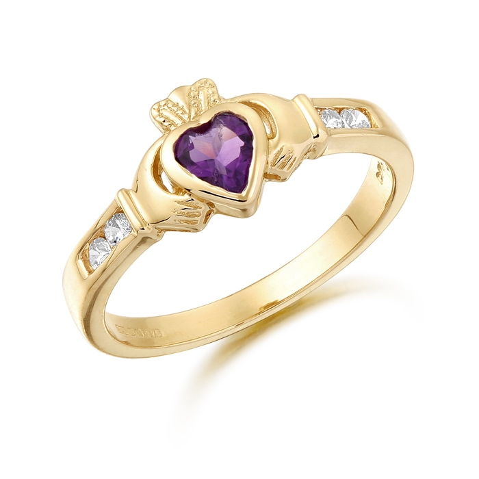 9ct Gold Claddagh Ring studded with Amethyst and CZ makes and ideal Irish Gift - CL100A