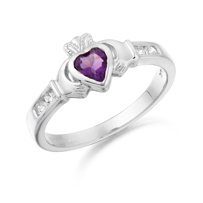 9ct White Gold Claddagh Ring studded with Amethyst and CZ makes and ideal Irish Gift - CL100AW