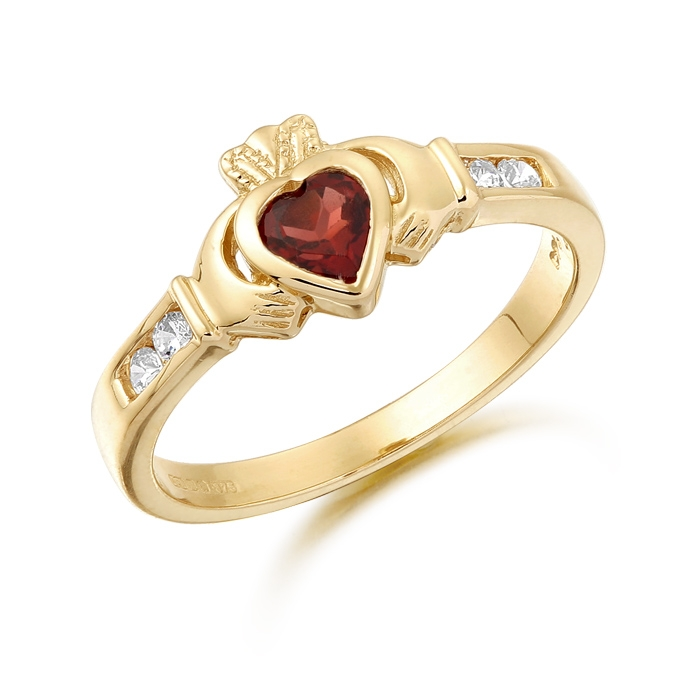 9ct Gold Claddagh Ring studded with CZ in Precision set stone setting and Basel set Garnet stone in the heart taking a centre stage - CL100GAR