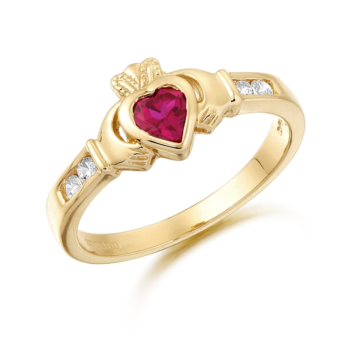 9ct Gold Claddagh Ring embellished with CZ and Ruby Stone - CL100R