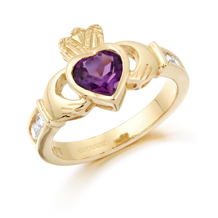 9ct Gold Claddagh Ring studded with Amethyst and precision set Cubic Zirconia settings on each side of the shoulder - CL102A