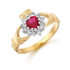 Claddagh Ring with Ruby and CZ-D36R