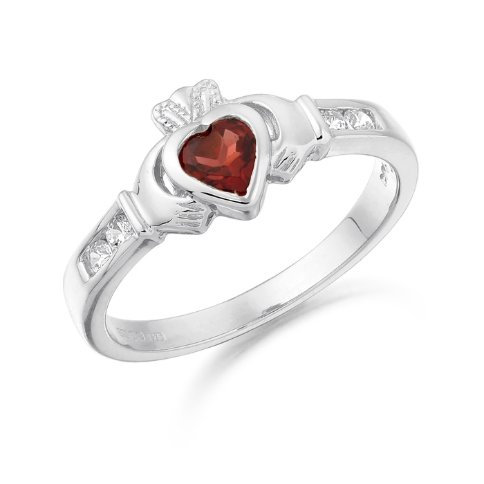 9ct White Gold Claddagh Ring studded with CZ in Precision set stone setting and Basel set Garnet stone in the heart taking a centre stage - CL100GARW