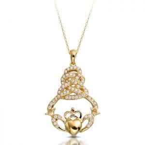 9ct Gold Claddagh Pendant-P017