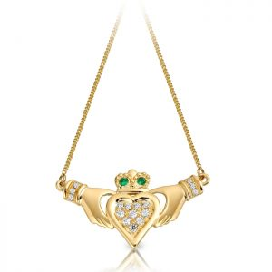 9ct Gold Claddagh Necklace Pendant-P038G