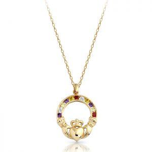 9ct Gold Claddagh Pendant-P014MS
