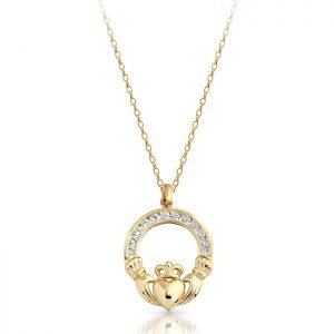 9ct Gold Claddagh Pendant-P014S