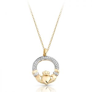 9ct Gold Claddagh Pendant-P018S
