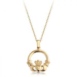 9ct Gold Claddagh Pendant-P04