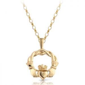 9ct Gold Claddagh Pendant-P132
