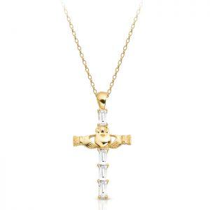 Gold Claddagh Cross-P211