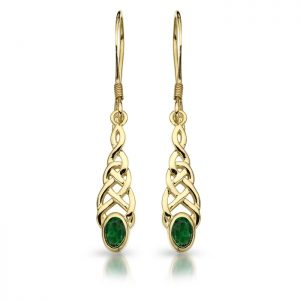 9ct Gold CZ Celtic Earrings-E035G