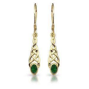 9ct Gold CZ Celtic Earrings-E035G
