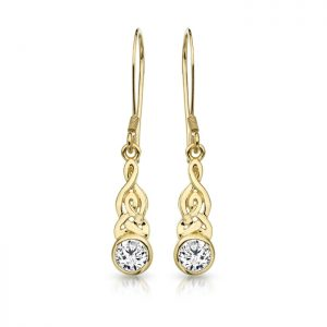 9ct Gold CZ Celtic Earrings-E036