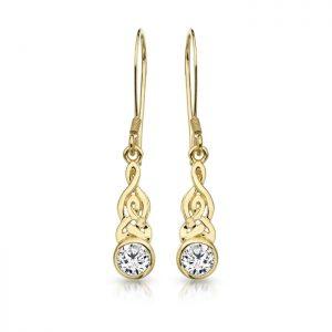 9ct Gold CZ Celtic Earrings-E036