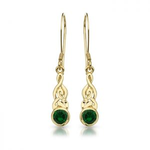 9ct Gold CZ Celtic Earrings-E036G