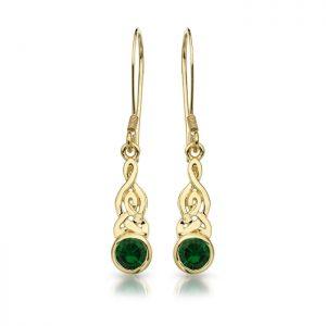 9ct Gold CZ Celtic Earrings-E036G
