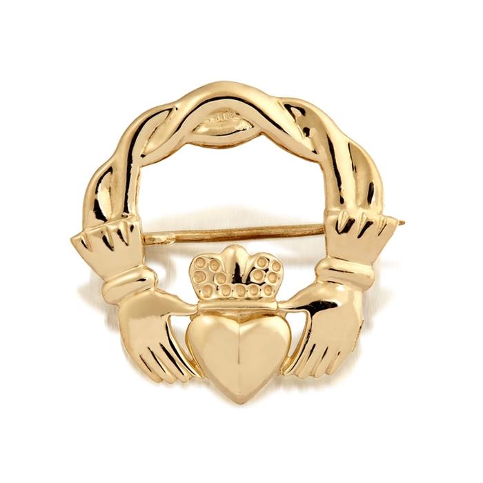 9ct Gold Claddagh Brooch - BR1