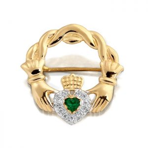9ct Gold Claddagh Brooch-BR1CZ
