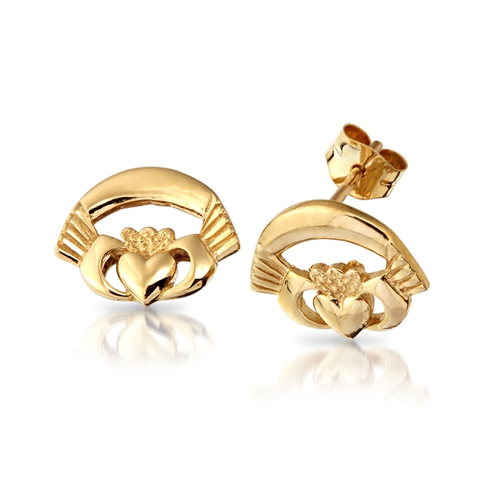 9ct Gold Ladies Claddagh Earrings - CLE
