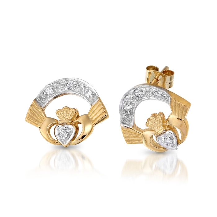 9ct Gold Ladies Claddagh Earrings - CLECZ