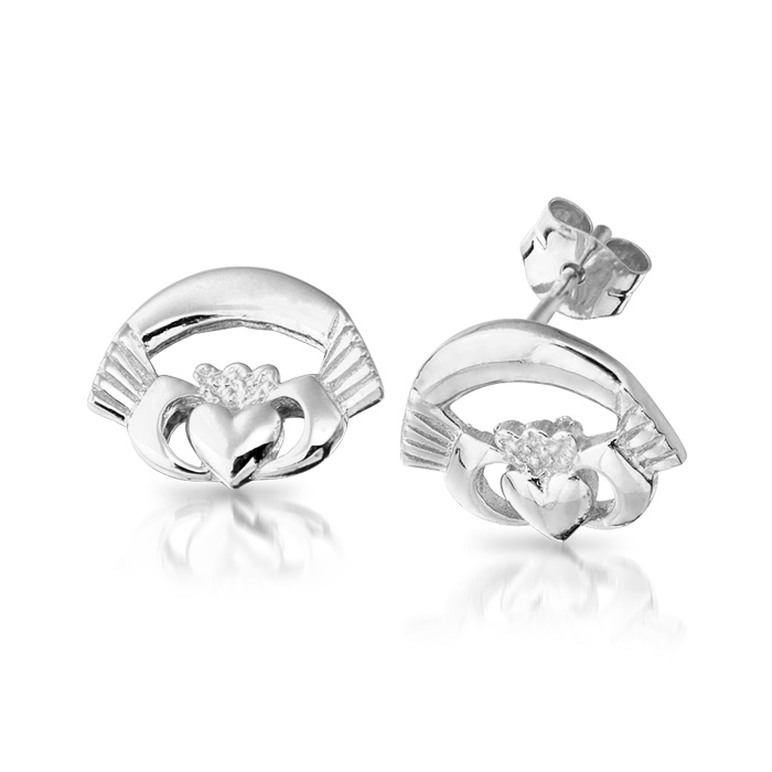 9ct White Gold Claddagh Earrings - CLEW