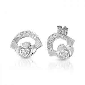 Gold Claddagh Earrings-CLEWCZ