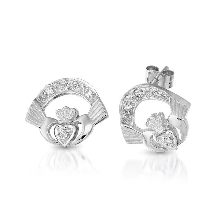 9ct White Gold CZ Claddagh Earrings. - CLEWCZ
