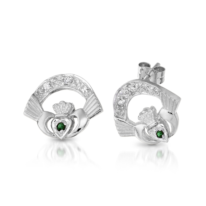 9ct White Gold Claddagh Earrings studded with CZ and Synthetic Emerald - CLEWG