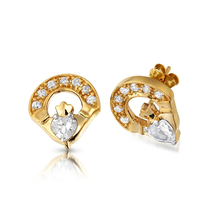 9ct Gold Claddagh Earring studded with Micro Pave CZ stone setting - E187