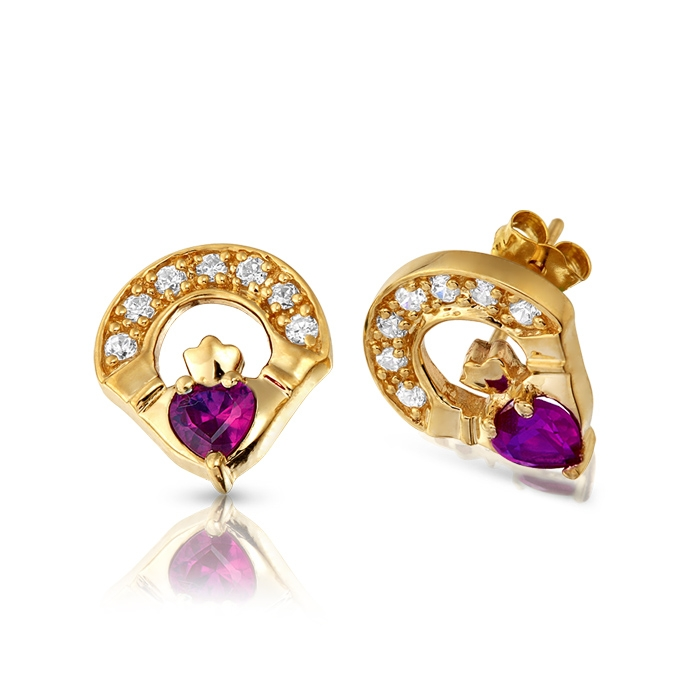 9ct Gold CZ Amethyst Claddagh Earrings - E187A