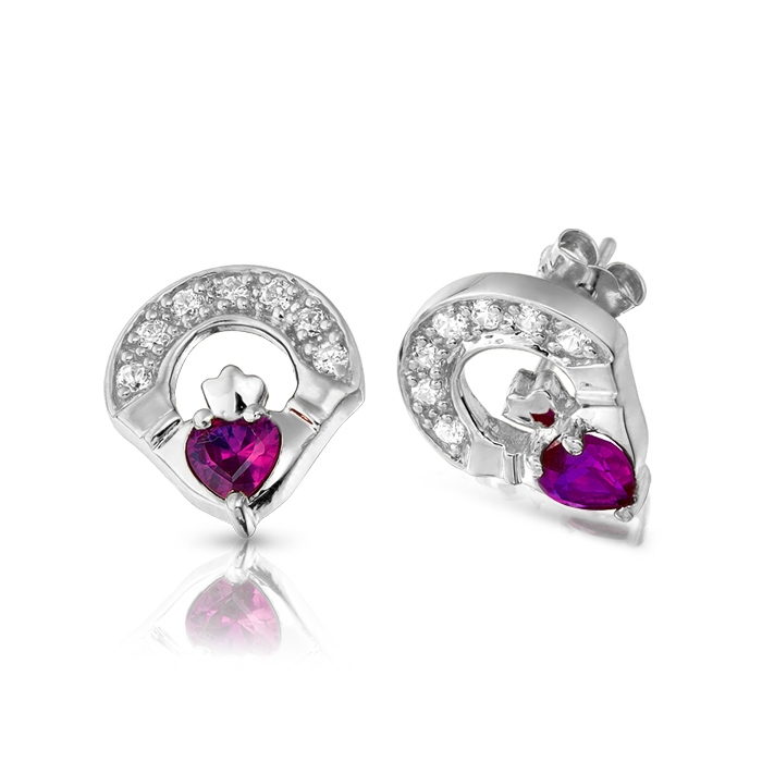 9ct White Gold CZ Amethyst Claddagh Earrings - E187AW