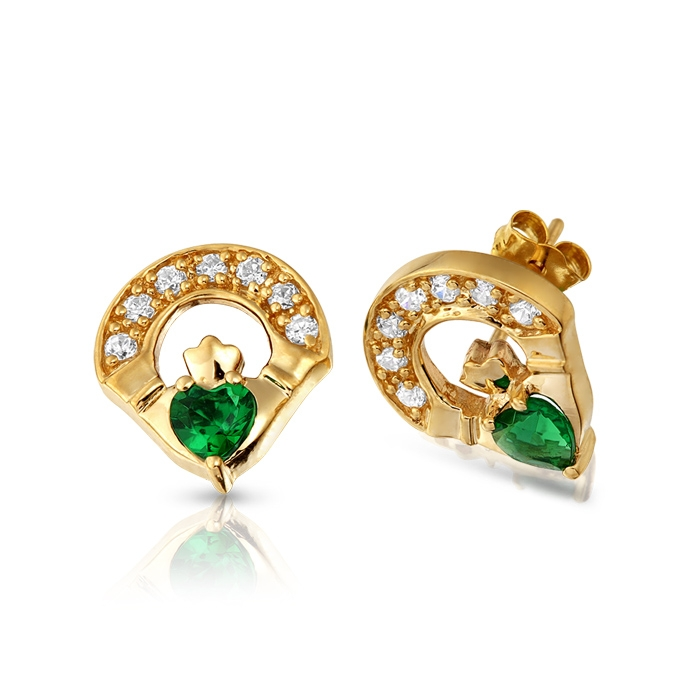 9ct Gold Emerald Claddagh Earrings studded with Cubic Zirconia and CZ Emerald in Micro Pave stone setting - E187G
