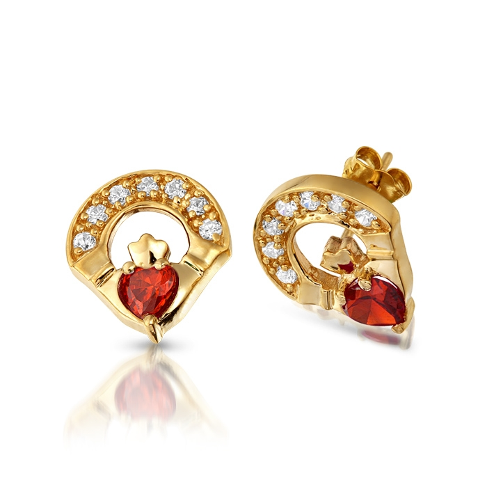 9ct Gold Garnet Claddagh Earrings studded with Micro Pave CZ stone setting - E187GAR