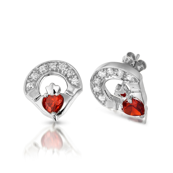 9ct White Gold Garnet Claddagh Earrings studded with Micro Pave CZ stone setting. Best Quality Irish Jewellery and Price Promise - E187GARW