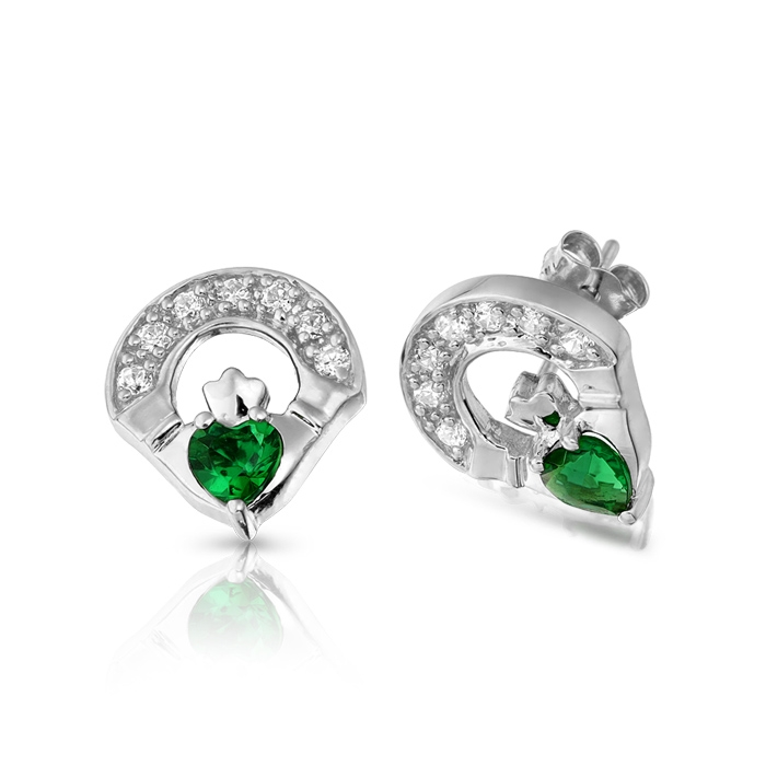9ct White Gold Emerald Claddagh Earrings studded with Cubic Zirconia and Synthetic Emerald in Micro Pave stone setting - E187GW