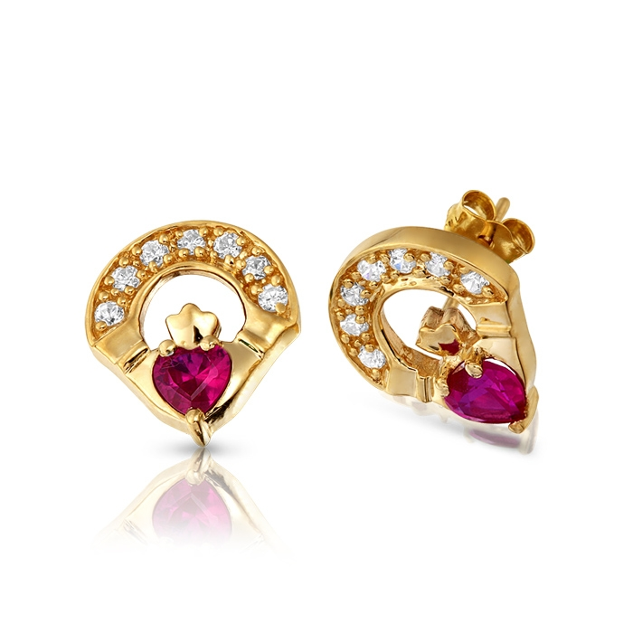 9ct Gold Ruby Claddagh Earrings studded with Cubic Zirconia and CZ Ruby in Micro Pave stone setting - E187R